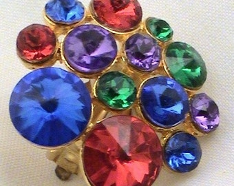 Bold Color Vintage Clip On Earrings