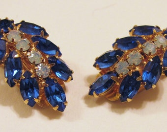 Sapphire Blue and Opal Glass Unsigned Clip On Earrings