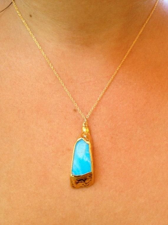 Aurielle Aqua Turquoise Dipped in 24kt Gold on Chain Necklace Bohemian Gypsy Goddess Festival Jewelry Vibrant Blue Natural Stone Gemstone