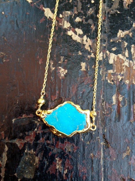 ALLY Aqua Turquoise Chunk Dipped in 24kt Gold on Pyrite Chain Necklace