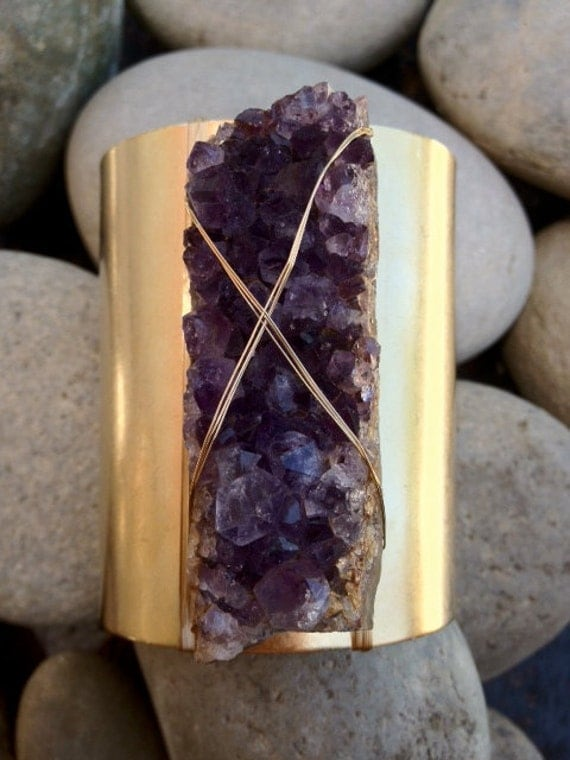 LUX 3 Inch Natural Raw Chunky Brilliant Amethyst Beautiful Bohemian Gemstone Wire Wrapped Cuff