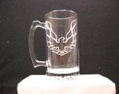 Pontiac firebird etched on a beer stein