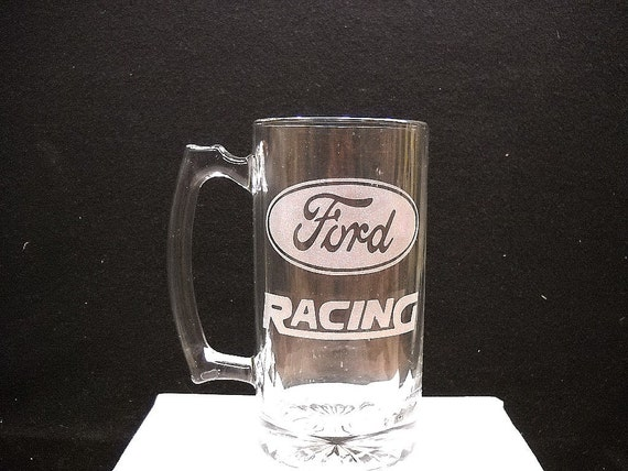 Ford racing etched on a beer mug