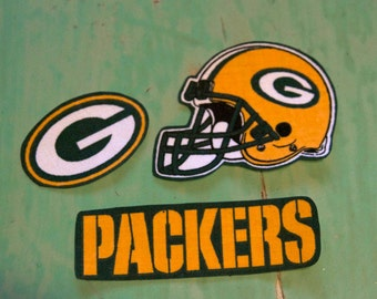 Green Bay Packers iron on applique set of 3
