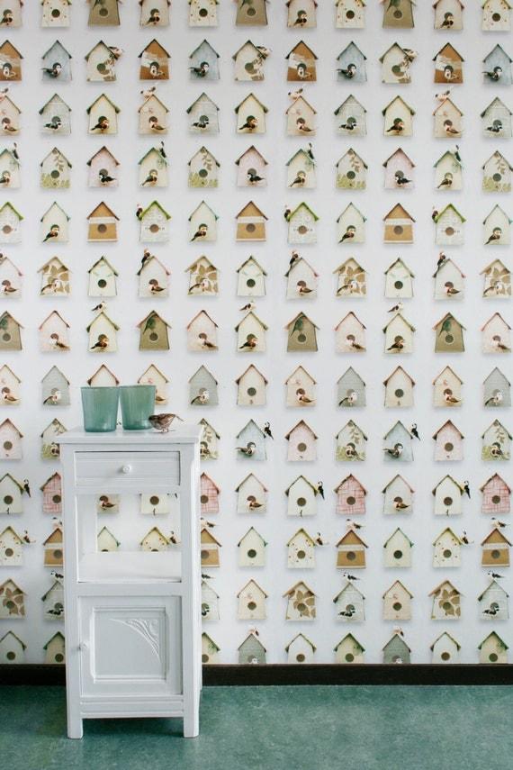 items similar to birdhouse wallpaper on etsy