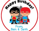 superhero birthday stickers - personalized superhero sticker - superman inspired batman inspired - sticker of gift tag