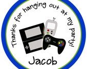 Video Game Birthday Party Sticker --video game sticker --  video game party favor tag