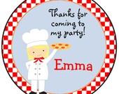 pizza party birthday sticker -- personalized birthday sticker --  favor tag, address label, custom sticker, personalized stickers