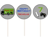 Video game birthday party cupcake toppers -- video game party -- video game cupcake toppers