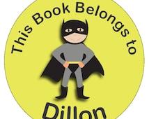 Superhero Sticker Boys Book Label This book belongs to