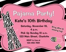 Slumber Party Birthday Invitation --  Pin & Sebra pajama party, sleepover -- custom printable invitation
