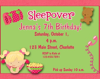 Custom slumber party sleepover party -  pajama party -  girls birthday party invitation