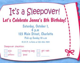 Slumber party girls birthday -- printable invitation -- sleepover, pajama party