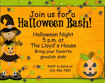 Custom halloween party invitation -- witches pumpkin