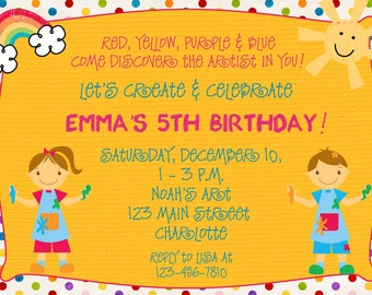 Paint party birthday invitation -- art party - arts and crafts party - printable invitation