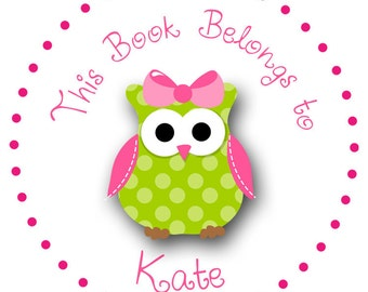 24 round pink and green owl personalized labels stickers  -   girls book label