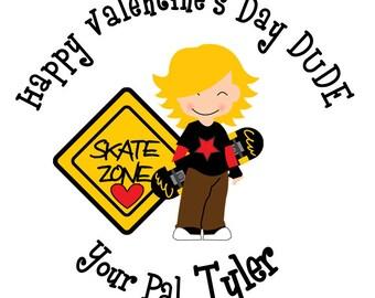 Valentine stickers Valentines stickers Valentine's Day Stickers -- skateboard Valentine