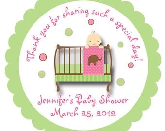 Baby Shower Sticker -- Baby girl personalized sticker --  favor tag, address label, custom sticker, personalized stickers