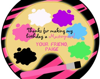 Painting Party Sticker -- art party sticker art birthday painting birthday --  favor tag