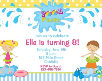 Pool party birthday invitation -- pool party - pool toys - swimming party