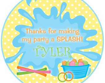 Pool party sticker Swimming party Sticker Pool Birthday Party Sticker