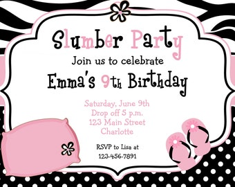 Slumber birthday party invitation -  slumber party, sleepover pajama party -  zebra print  - You print or I print