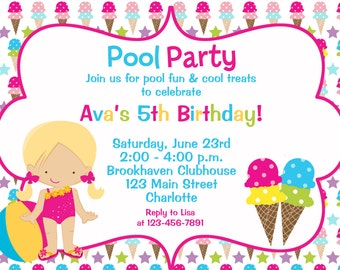 Pool and Ice cream party birthday Invitation -- pool party  ice cream birthday party ice cream social -- You print or I print