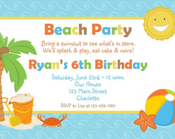 Beach party birthday invitation -- pool party -- beach party - swimming party - You print or I print.