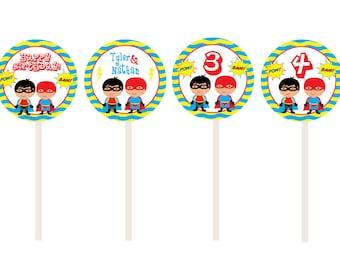 Superhero Birthday Party Cupcake Toppers -- 24 superhero cupcake toppers