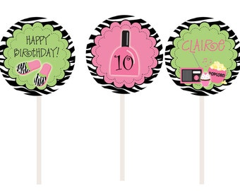 Slumber Birthday Party Cupcake Toppers --  Slumber Party - sleepover party cupcake toppers