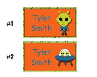 Alien backpack tags, lunchbox  tags, luggage tags -- Boys backpack tag