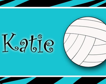 volleyball backpack tag -  volleyball bag tag - sports bag tag -  lunchbox  tags, luggage tags