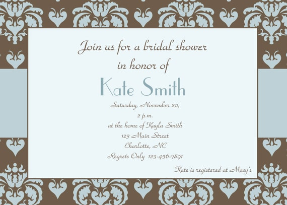 Bridal Shower Invitation -- blue and brown damask - custom and ...