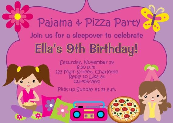 pizza und pyjama party party geburtstagseinladung. Black Bedroom Furniture Sets. Home Design Ideas