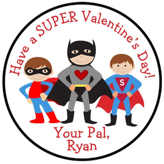 Super hero valentine sticker valentines sticker Valentine's Day Sticker superhero Valentine