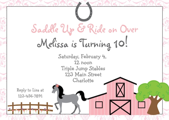 horseback riding birthday invitation by thebutterflypress on etsy. Black Bedroom Furniture Sets. Home Design Ideas