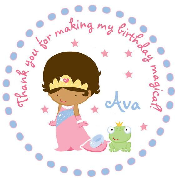 Princess Birthday Party Sticker -- personalized birthday sticker --  favor tag, address label, custom sticker, personalized stickers