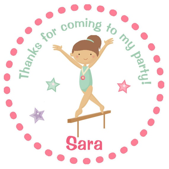 Gymnastics Birthday Party Sticker -- personalized birthday sticker --  favor tag, custom sticker, personalized stickers - any hair color