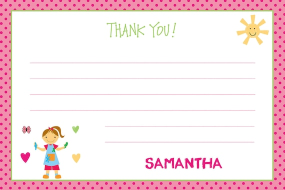 Painting Birthday Party Thank you note --  - paint party art party --  you print or I print