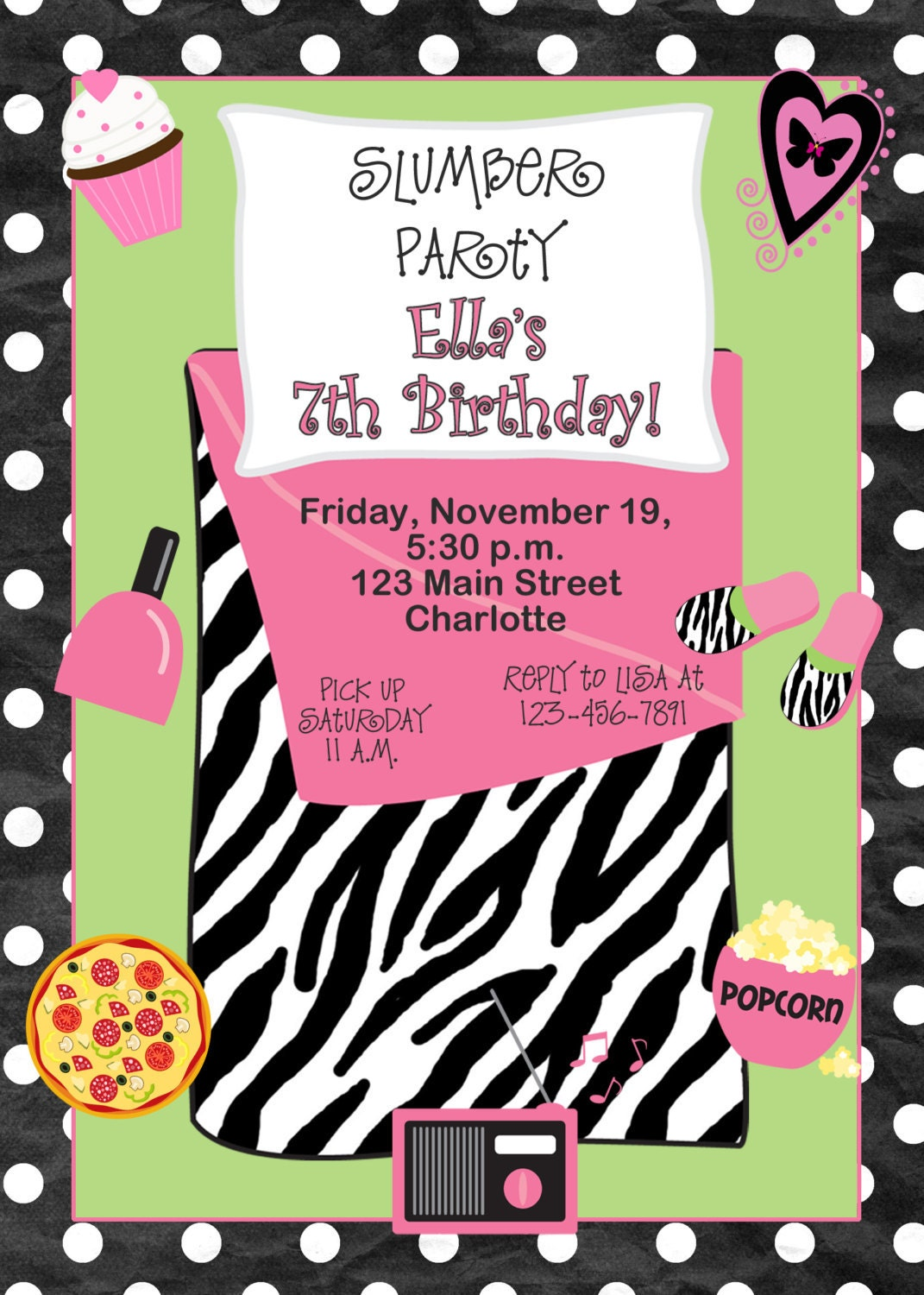 slumber party birthday invitation pajama by TheButterflyPress