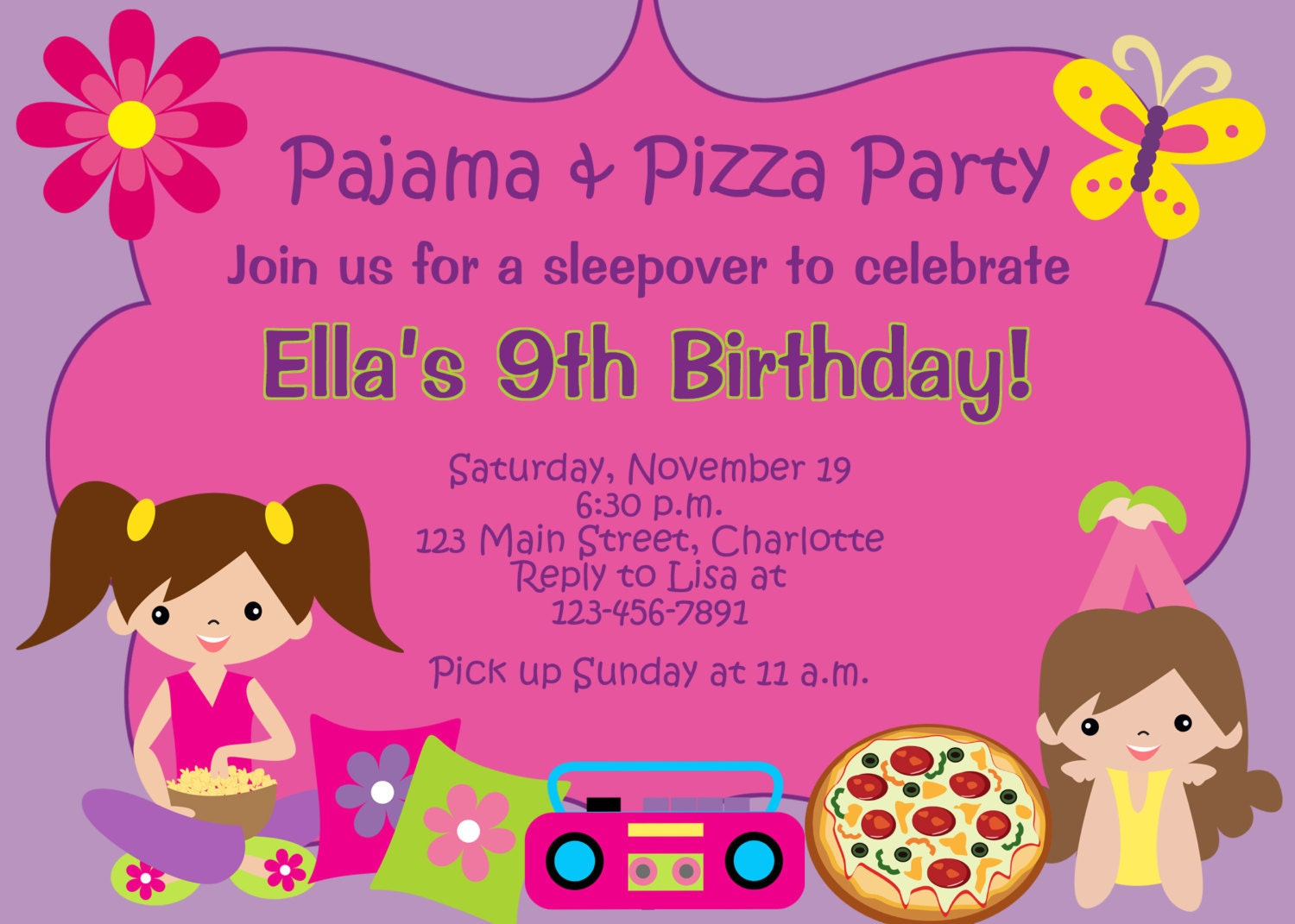 Pizza and Pajama party birthday party invitation slumber – Sleepover Birthday Party Invitations