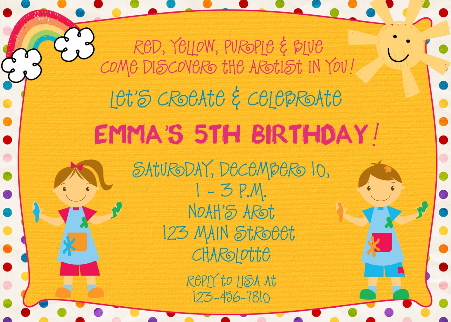 Paint party birthday invitation art party arts and crafts for Crafts to do at a birthday party