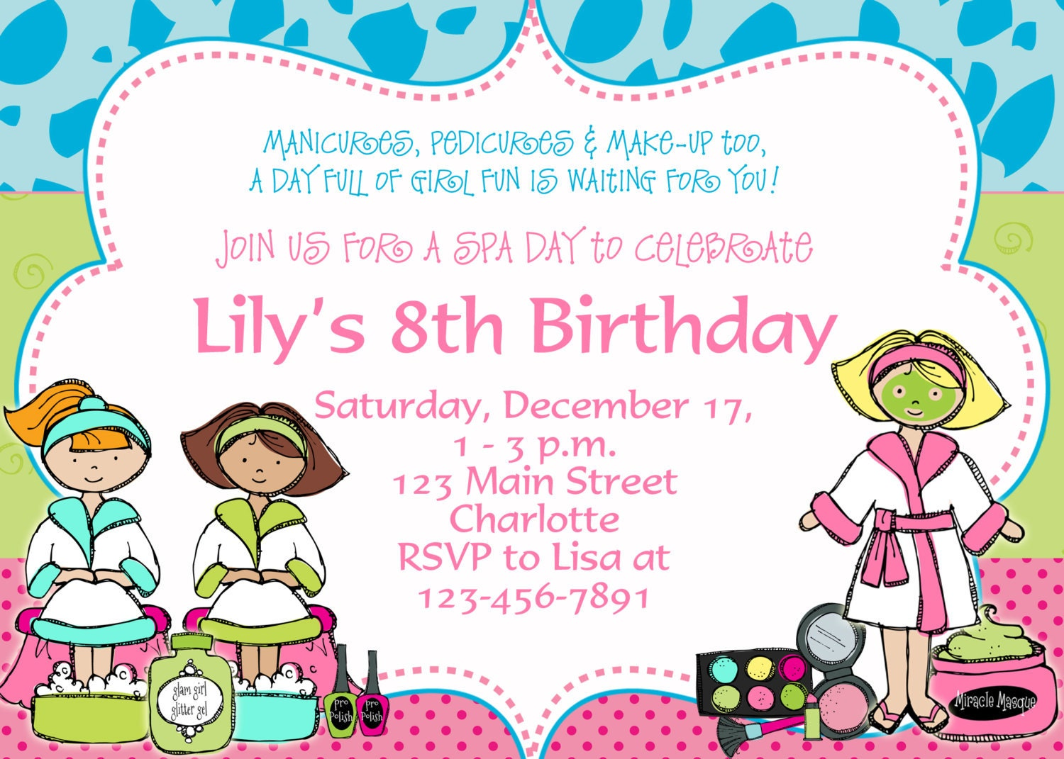 Spa Birthday Party Invitation Spa Birthday by TheButterflyPress