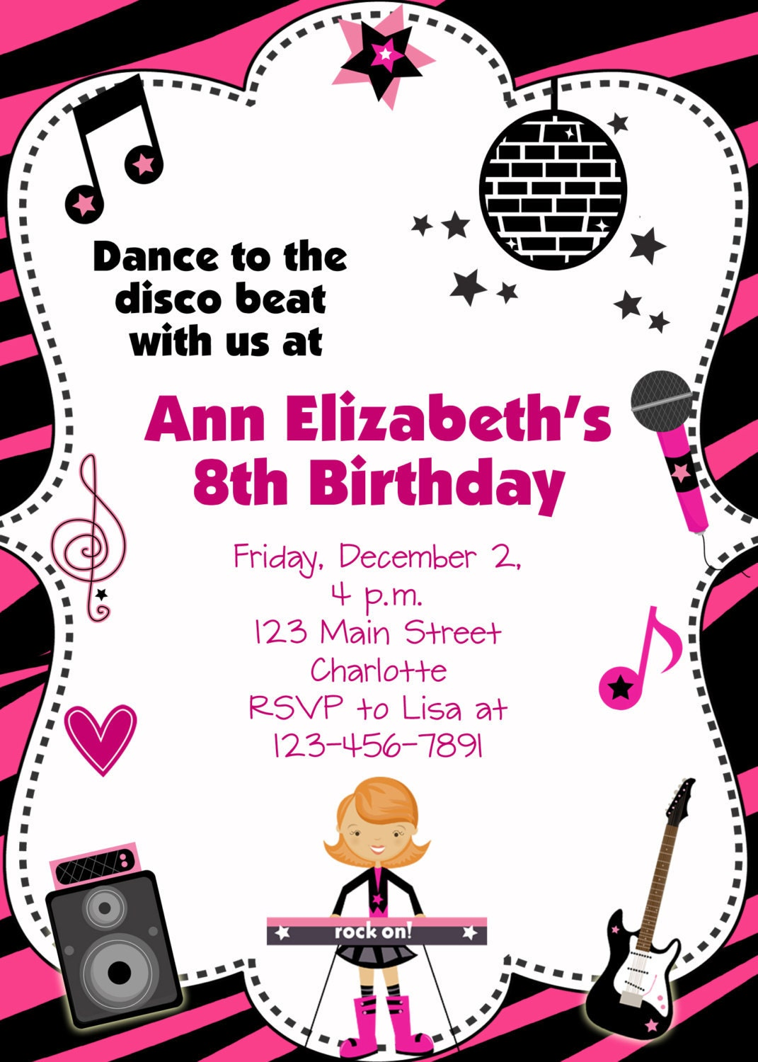Dance Party Birthday Invitation custom printable