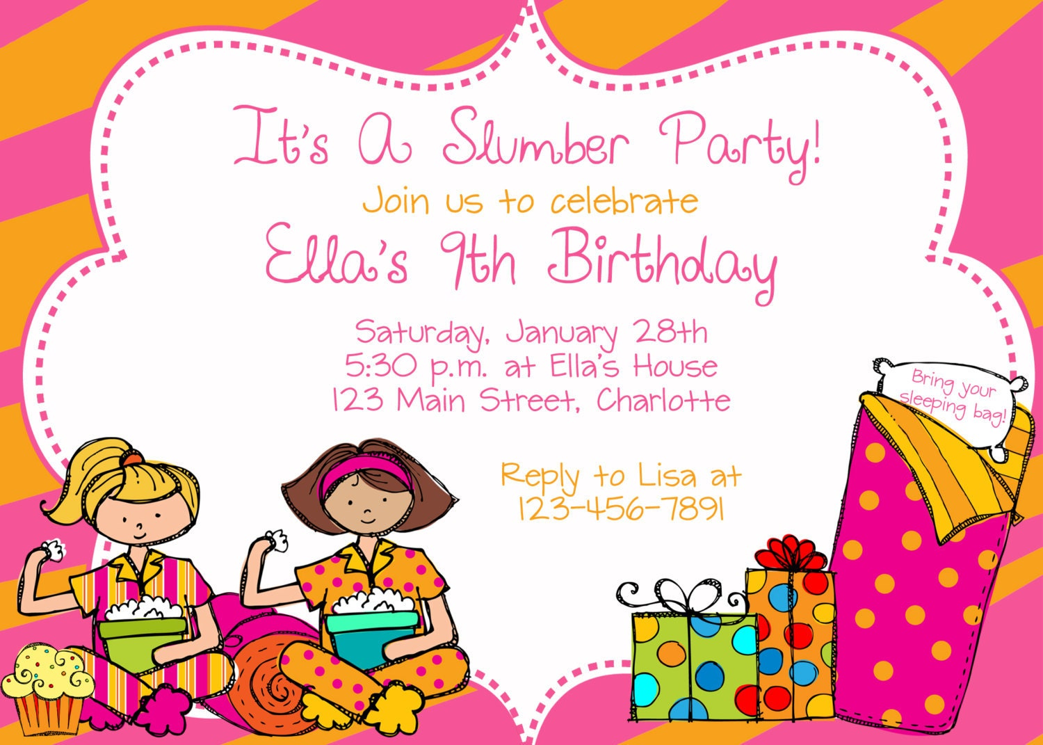 Slumber party birthday party invitation slumber party zoom stopboris Image collections
