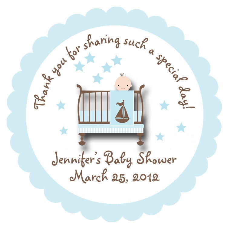 Baby shower sticker baby boy personalized sticker favor for Baby shower label template for favors
