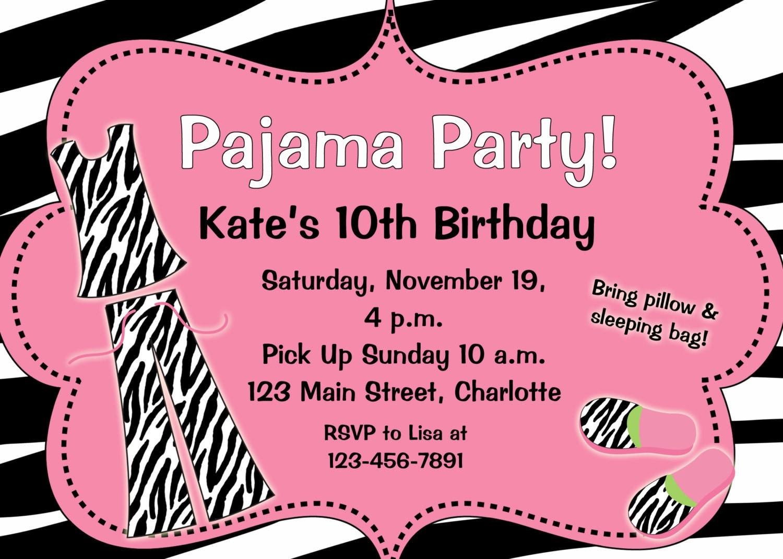 Slumber party birthday invitation pin sebra pajama zoom stopboris Choice Image