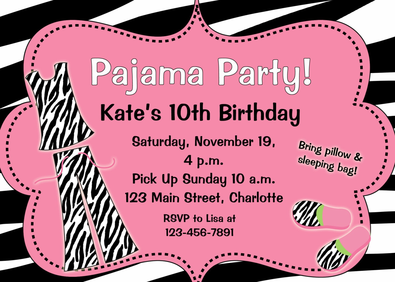 pyjama party geburtstagseinladungpin sebra pyjama party. Black Bedroom Furniture Sets. Home Design Ideas