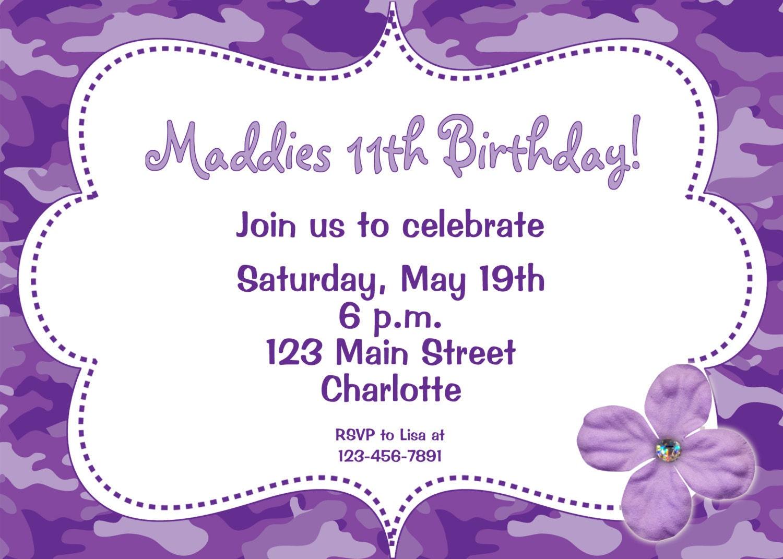 birthday glow party invitation cards theme purple
