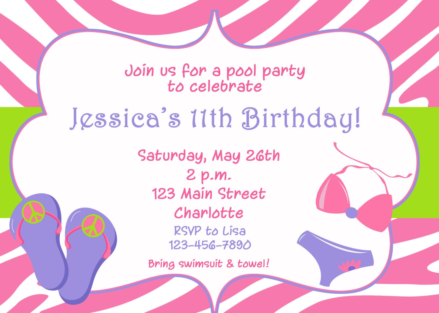Pool party birthday invitation pool party flip flops